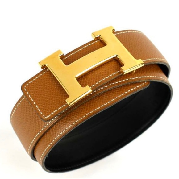 Hermes Accessories - HERMES Brown Black Leather H Logo Gold Constance